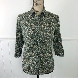 The North Face Green Blue Floral Button Up Top